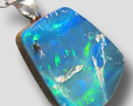 Australian Opal Pendant Sterling Silver Doublet 8.5ct  RRP: $410!