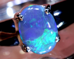 14.40CTS- BLACK OPAL SILVER RING  OF-M79   LAZ