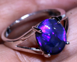 15.40CTS- BLACK CRYSTAL OPAL SILVER RING  OF-M805   LAZ