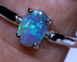 6.30CTS- BLACK OPAL SILVER RING  OF-Y53    LAZ