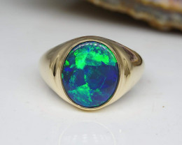 48.03CTS Solid Black Opal GOLD Ring