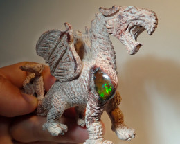 600ct Dragon Figurine Mexican Cantera Fire Opal