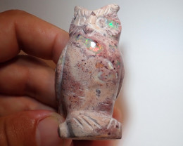 200ct Owl Figurine Mexican Cantera Fire Opal