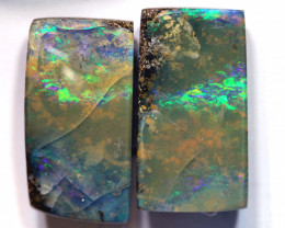 10.8 CTS BOULDER  POLISHED CUT STONE PAIR TBO-4572  TRUEBLUEOPALS