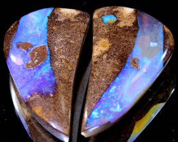 37.30 CTS BOULDER PIPE  OPAL PAIR   NC-A110    Niceopals