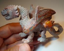 200ct Dragon Figurine Mexican Cantera Fire Opal