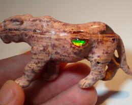 120ct Jaguar Figurine Mexican Cantera Fire Opal