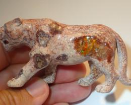 180ct Jaguar Figurine Mexican Cantera Fire Opal