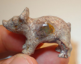 59.4ct Pig Figurine Mexican Cantera Fire Opal