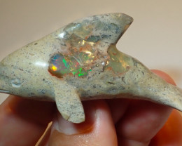 100ct Dolphin Figurine Mexican Cantera Fire Opal