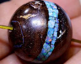 40 CTS BOULDER OPAL INLAY DRILLED BEAD  LO-6907  LIGHTNINGOPALS