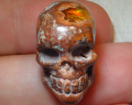 36.4ct $1 NR Auction Skull Figurine Mexican Cantera Fire Opal