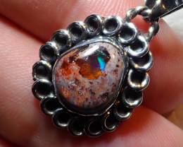18.15ct $1 NR Auction Natural Mexican Opal .925 Sterling Silver Pendant