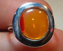 8.50size $1 NR Auction Natural Mexican Opal .925 Sterling Silver Ring