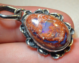 24.25ct $1 NR Auction Natural Mexican Opal .925 Sterling Silver Pendant