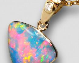 Australian Opal & Diamond Pendant Super Gem Gift 4.6ct F23