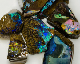 Exotic Colourful Rough Boulder Opals of Winton Field #32