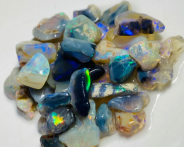Bright Clean Black & Crystal Rough Nobby Opals - 80 Cts
