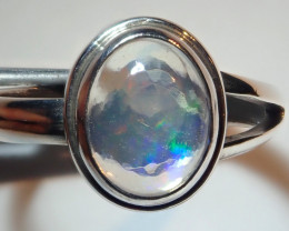 7.25size Natural Mexican Opal .925 Sterling Silver Ring