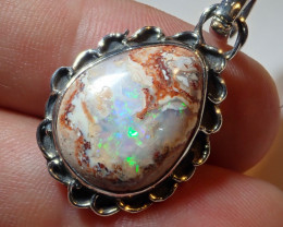 21.76ct Natural Mexican Cantera Opal .925 Sterling Silver Pendant