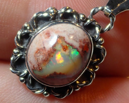 14.6ct Natural Mexican Cantera Opal .925 Sterling Silver Pendant