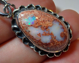 33.25ct Natural Mexican Cantera Opal .925 Sterling Silver Pendant