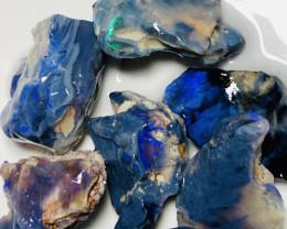 Black Seam* 130CTs of Bright Rough Black Opals to Carve & Cut #84