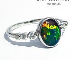 100% Australian Opal Triplet with Cubic Zirconia Ring by OPAL TERRITORY