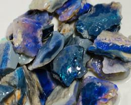 Select Dark Base Bright Rough Seam Opals to Cut #128
