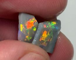 Super Bright Multicolour Pair of Semi Black Opal Rubs to Shape & Polish