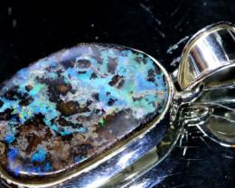 43.0CTS BOULDER OPAL STERLING SILVER PENDANT OF-2245 opalsforever