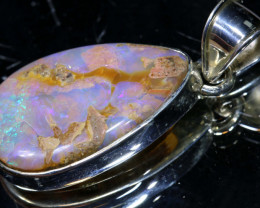 29.55CTS BOULDER OPAL STERLING SILVER PENDANT OF-2249 opalsforever