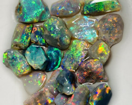 Plate of Colours- 22 CTs Multicolour Bright SMALL SIZE Rough Opals- Refer t