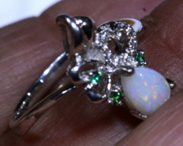 9.85 CTS WHITE OPAL SILVER RING OF-1295 OPALSFOREVER
