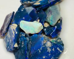 72 Cts Black Rough Seam Opals