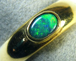 GREEN FIRE ENHANCED OPAL 18K YELLOW GOLD RING SIZE 7.5 MY134