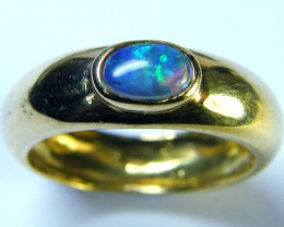GREEN FIRE ENHANCED OPAL 18K YELLOW GOLD RING SIZE 6.5 MY137
