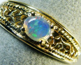 GREEN SHIMMER FLASH CRYSTAL OPAL 14K GOLD RING SIZE7.5 MY172