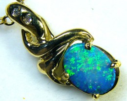 BEAUTIFUL FLASH DOUBLET OPAL 14K GOLD PENDANT 1.2CTS  MY193