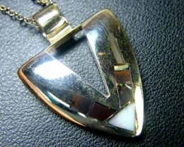 MODERN STYLE SILVER  INLAY OPAL  PENDANT SCA1539