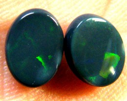 PAIR BEAUTIFUL FIRERY BLACK OPALS 2.40 CTS QO 2916