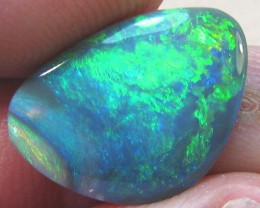 5.45 CT MULTI COLOURED/FIRE SOLID CUT BLACK OPAL NICE SHAPE A161