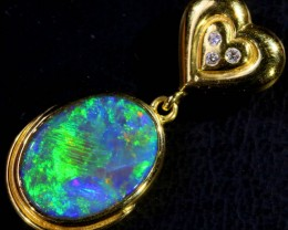GEM BLACK CRYSTAL OPAL 18K GOLD PENDANT SCO968