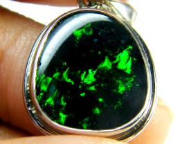 BEAUTIFUL BLACK OPAL 18K WHITE GOLD PENDANT 4.85 CTS SCA1689