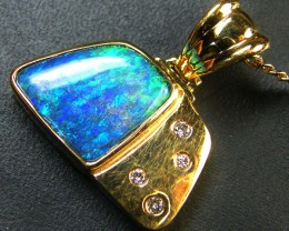 BEAUTIFUL BOULDER OPAL 18K GOLD PENDANT 6.20 CTS SCA1696