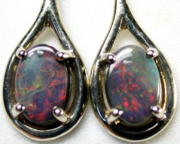 BEAUTIFUL BLACK OPAL 18K WHITE GOLD EARRING 2.30 CTS SCA1712