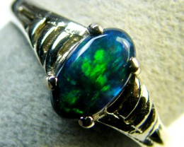 FREE SHIPPING GREEN FIRE BLACK OPAL 18K WHITE GOLD RING SIZE 5.5 SCA1808