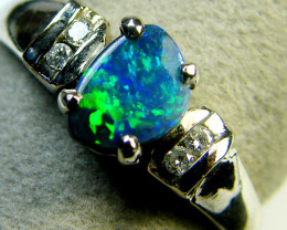 GEM BLACK OPAL 18K WHITE GOLD RING SIZE 6.5 SCA1811