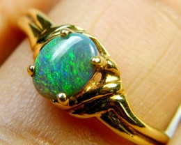 FREE SHIPPING GREEN SHIMMER FLASH BLACK OPAL 18K GOLD RING SIZE6.5 SCA1814