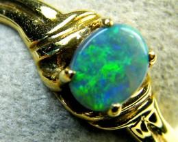 FREE SHIP GREEN FLASH BLACK OPAL 18K GOLD RING SIZE 6.5 SCA1818